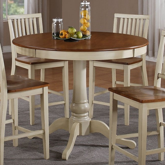 Candice Ii Round Dining Tables With Well Known Candice Round Counter Height Table (oak / White) Steve Silver (View 2 of 20)