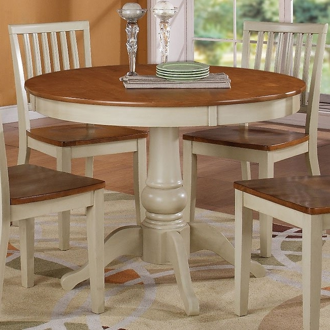 Candice Ii Slat Back Side Chairs Regarding 2018 Candice Round Dining Room Set (Oak / White) Steve Silver Furniture (View 4 of 20)