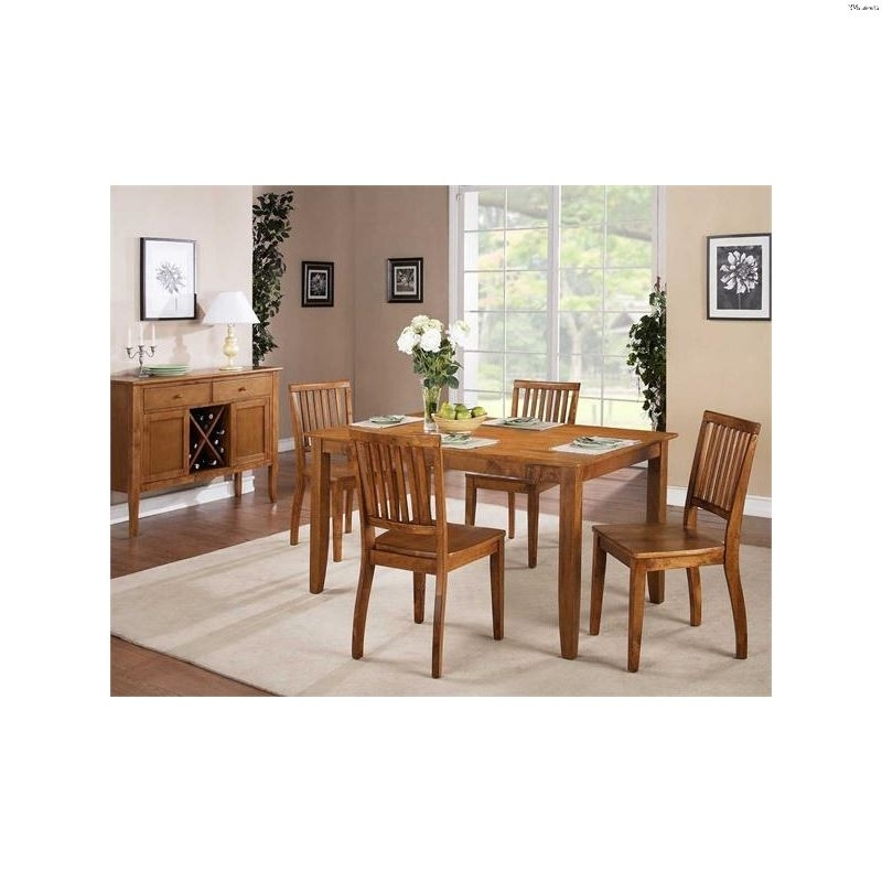 Candice Ii Slat Back Side Chairs Throughout Latest 5 – Pc Candice Oak Dining Table Set Cd450Tk+Cd450Sksteve Silver (View 6 of 20)