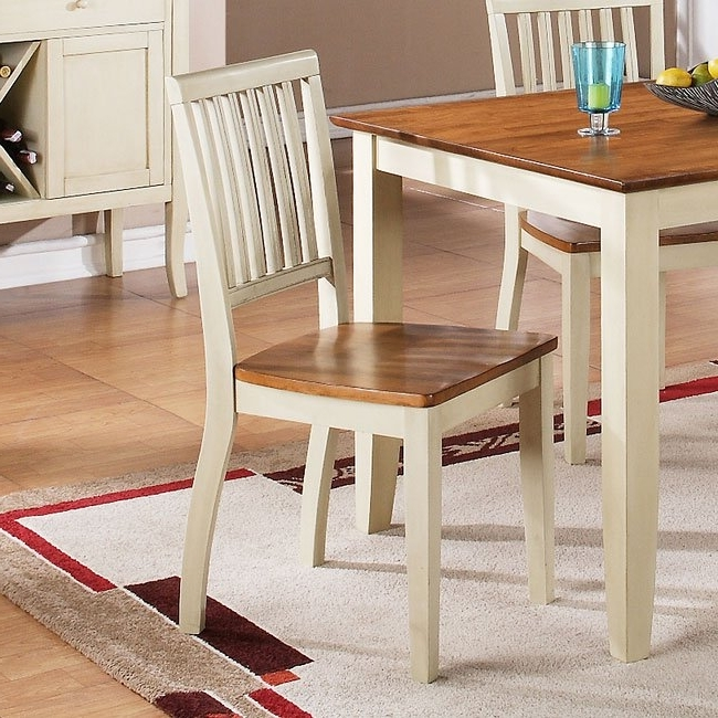 Candice Ii Slat Back Side Chairs With 2017 Candice Round Dining Room Set (Oak / White) Steve Silver Furniture (View 7 of 20)