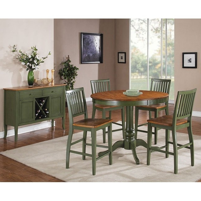 Candice Round Counter Height Dining Set (Oak / Green) Steve Silver Within Most Popular Candice Ii 6 Piece Extension Rectangle Dining Sets (View 6 of 20)