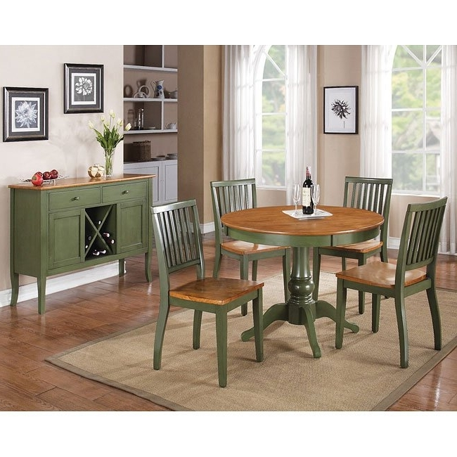 Candice Round Dining Room Set (Oak / Green) Steve Silver Furniture Within Latest Candice Ii Extension Rectangle Dining Tables (View 6 of 20)