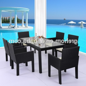 Cane Furniture Plastic Rattan Tempered Glass Top Dining Table – Buy Inside Widely Used Wicker And Glass Dining Tables (View 3 of 20)