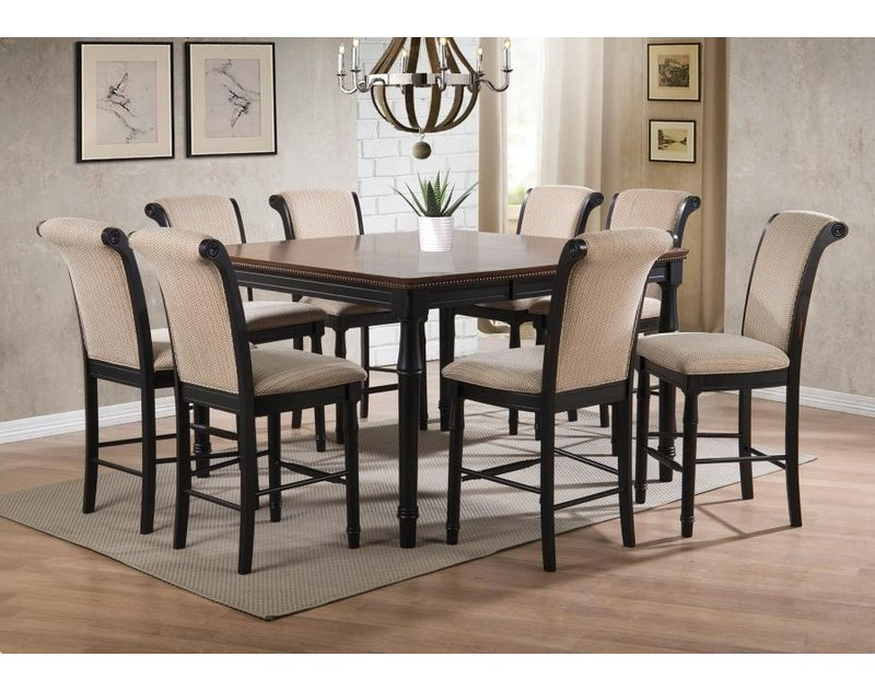 Canora Grey Vianden 9 Piece Counter Height Solid Wood Dining Set Throughout Most Popular Norwood 9 Piece Rectangle Extension Dining Sets (View 3 of 20)