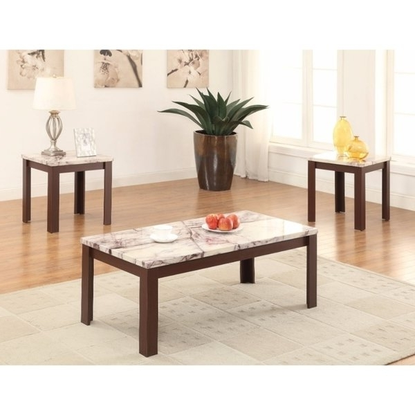 Carly Rectangle Dining Tables With Regard To Preferred Shop Carly Coffee/end Table Set, Faux Marble & Cherry, Pack Of (View 11 of 20)