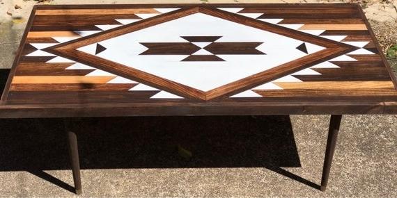 Carly Triangle Tables Regarding Popular Whitewash Razor Navajo Aztec Native Boho Mid Century Coffee (View 6 of 20)