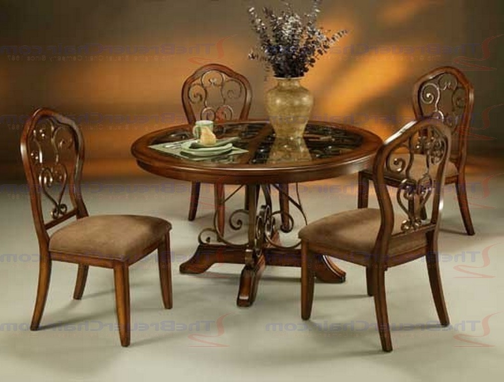 Carmel Oak Side Chairs For Trendy Pastel Furniture Carmel 5 Piece Round Wood Dining Set With Glass (View 2 of 20)