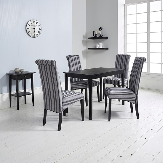 Carmel Oak Side Chairs With Regard To Most Up To Date Carmel Wooden Dining Table In Matt Black And 4 Grey Chairs (View 6 of 20)