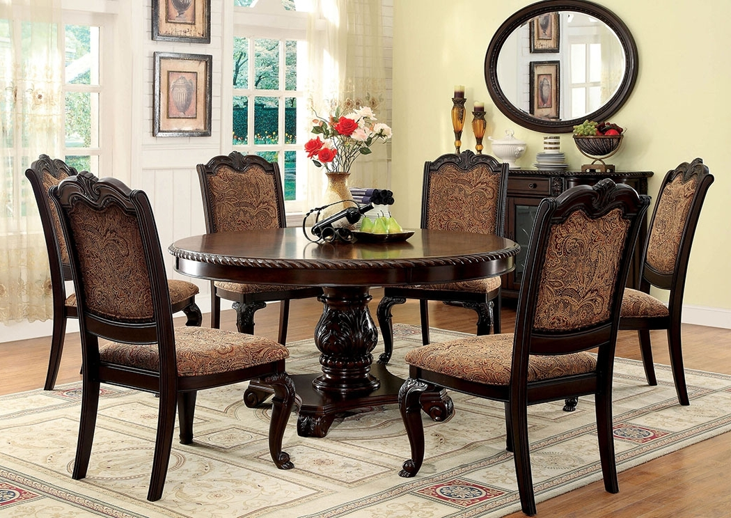 Cascade Home Decor Bellagio Round Dining Table W/6 Side Chairs In Well Known Craftsman 5 Piece Round Dining Sets With Side Chairs (View 2 of 20)