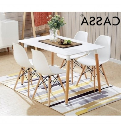 Cassa Eames White Stylish Dining Set Of 4 (Square Table 120X60 Cm Throughout Latest Dining Tables 120X60 (Gallery 9 of 20)