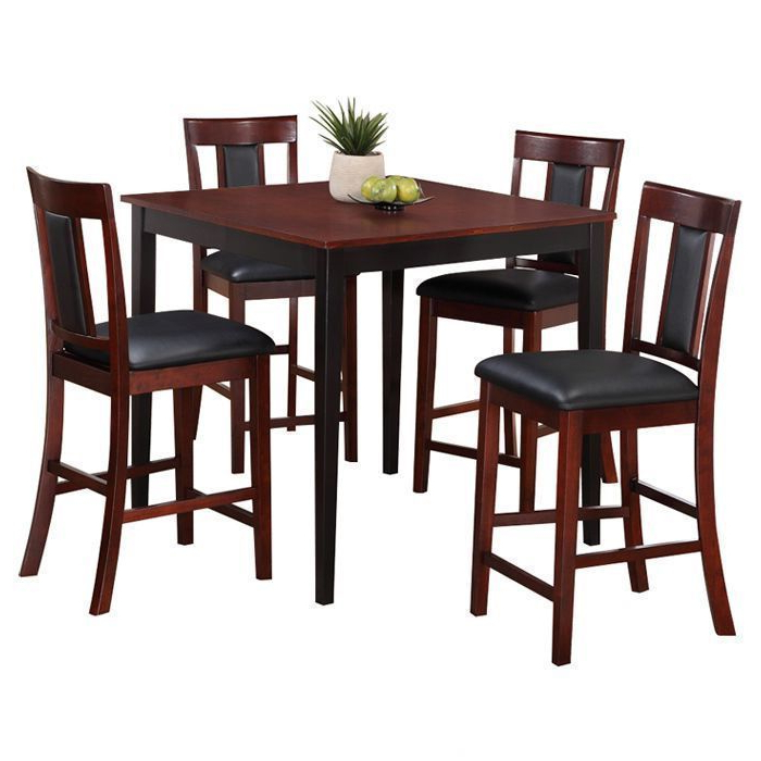 Casual 5 Piece Counter Height Pub Set #counterheighttablesquare Inside 2018 Jaxon 5 Piece Extension Counter Sets With Wood Stools (Gallery 20 of 20)