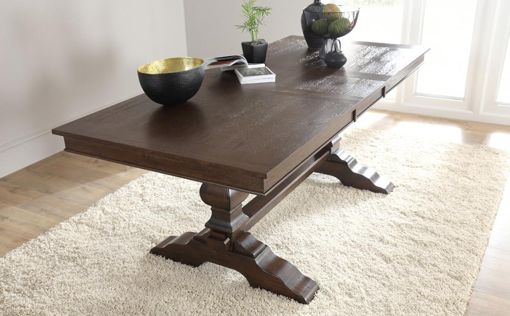Cavendish Dark Wood Extending Dining Table With 6 Duke Oatmeal Intended For Preferred Dark Wood Extending Dining Tables (View 12 of 20)