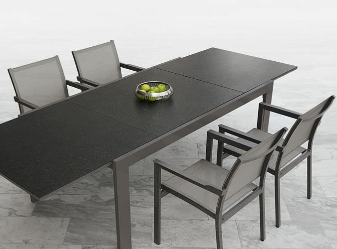 Ceramic Aluminum Extendable Dining Table Modern Black White In Latest Outdoor Extendable Dining Tables (View 5 of 20)