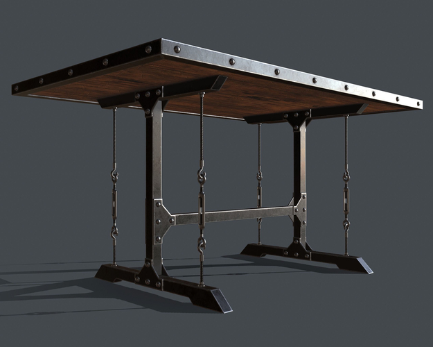Cgtrader Regarding Industrial Style Dining Tables (View 19 of 20)