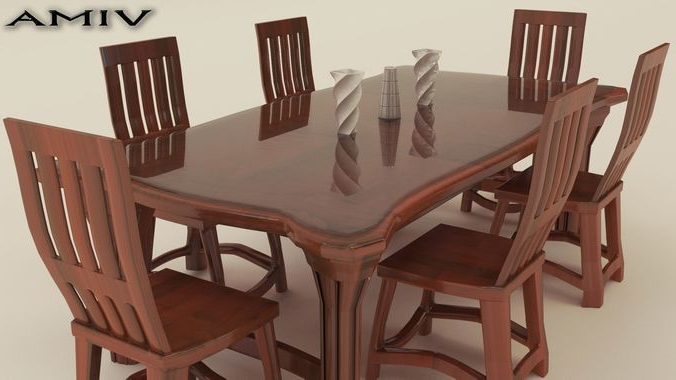 Cgtrader With Regard To Most Recent Wooden Dining Sets (Gallery 8 of 20)