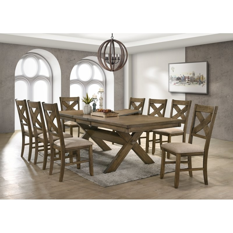 Chandler 7 Piece Extension Dining Sets With Fabric Side Chairs With 2017 Gracie Oaks Poe 9 Piece Extendable Dining Set & Reviews (View 5 of 20)