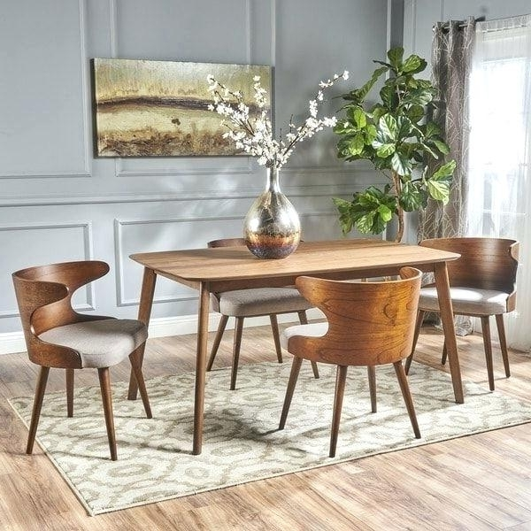 Chandler 7 Piece Extension Dining Sets With Wood Side Chairs With Famous Living Spaces Dining Sets Mid Century 5 Piece Rectangular Wood (View 4 of 20)