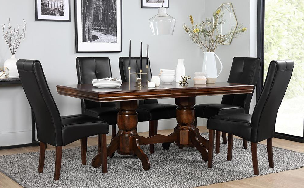 Chatsworth Dark Wood Extending Dining Table And 6 Chairs Set (Logan With Trendy Logan 6 Piece Dining Sets (View 8 of 20)