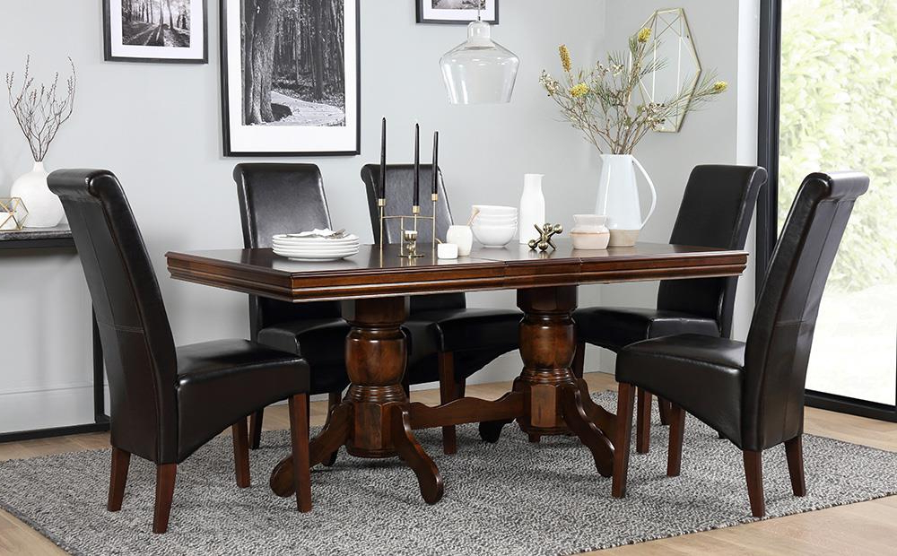 Chatsworth Extending Dark Wood Dining Table And 4 Chairs Set (boston With Regard To Well Liked Dark Brown Wood Dining Tables (View 8 of 20)