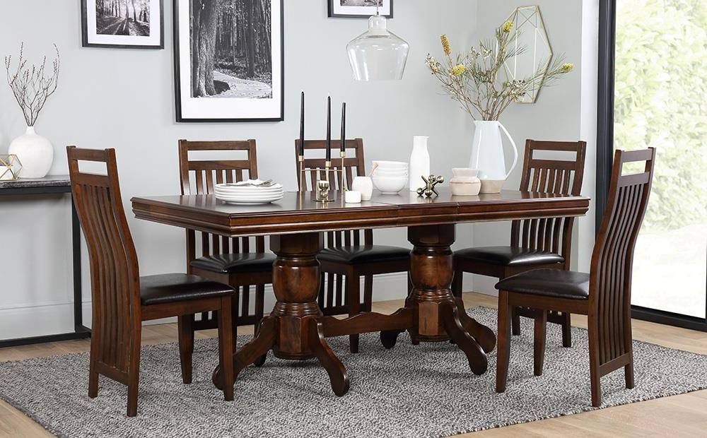 Chatsworth Extending Dark Wood Dining Table And 6 Java Chairs Set Intended For Trendy Wood Dining Tables And 6 Chairs (View 1 of 20)