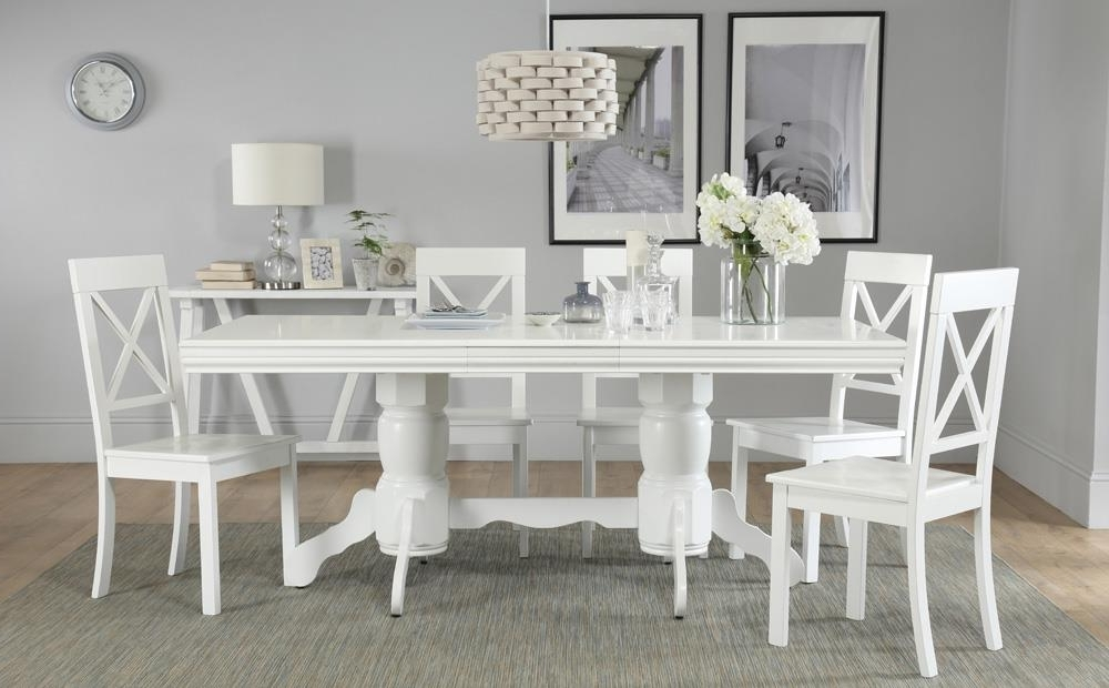 Chatsworth White Extending Dining Table With 6 Kendal Chairs Only Throughout Preferred Chatsworth Dining Tables (View 12 of 20)