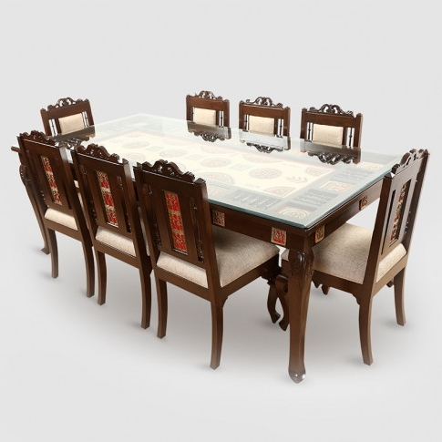 Cheap 8 Seater Dining Tables Inside Most Popular Teak Wood 8 Seater Dining Table In Warli & Dhokra Work (View 7 of 20)