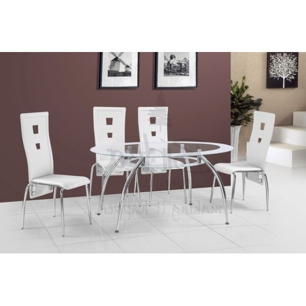 Cheap Birlea Soho Oval Glass Dining Table Set With 4 White Chairs With Regard To Well Known Cheap Glass Dining Tables And 4 Chairs (View 3 of 20)