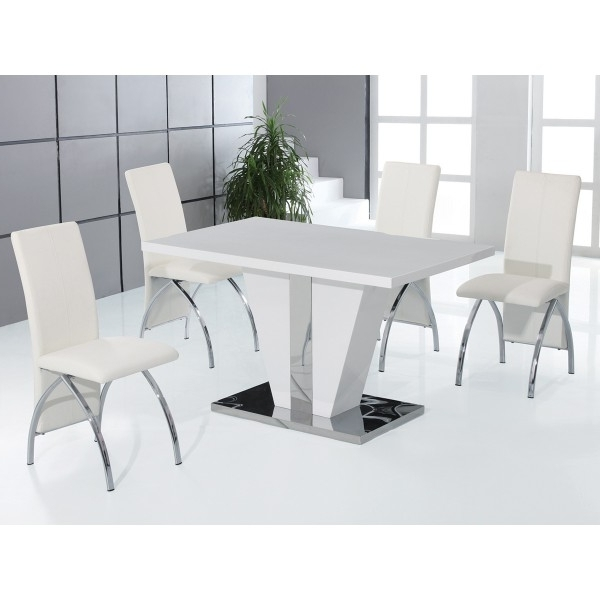 Cheap Glass Dining Tables And 4 Chairs Regarding Current Cheap Heartlands Costilla High Gloss Dining Table Set 4 Small Dining (View 6 of 20)