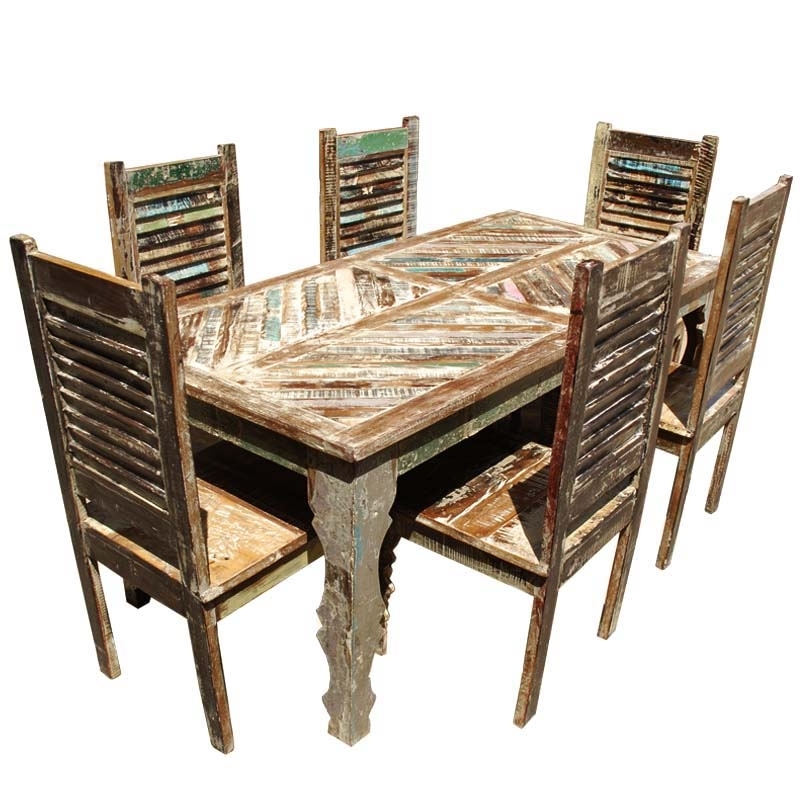 Cheap Reclaimed Wood Dining Tables Pertaining To Recent Tucson Rainbow Reclaimed Wood Dining Table & Shutter Back Chair Set (View 14 of 20)