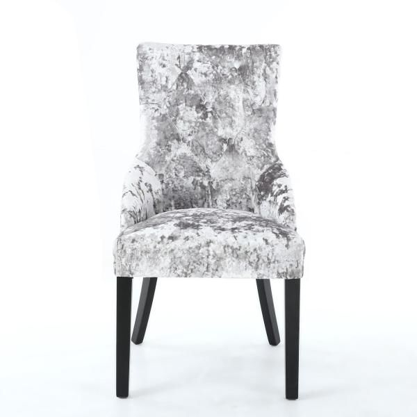 Chester Dining Chairs For Popular Pair Of Chester Crushed Velvet Silver Chair Dining Chairs (View 6 of 20)