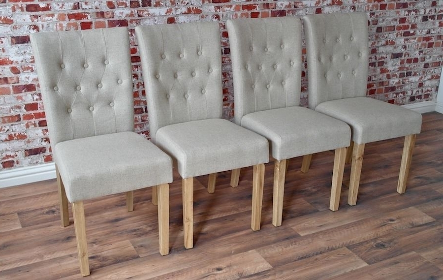 Chesterfield Style Upholstered Dining Chairs Set Button Back Oak Regarding Recent Button Back Dining Chairs (View 3 of 20)