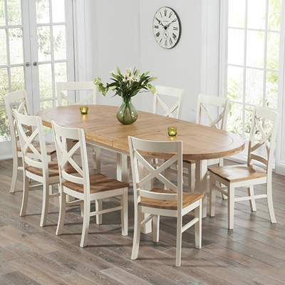 Chevron Oak And Cream Oval Extending Dining Table With 8 Carver Chairs Intended For Most Popular Oval Extending Dining Tables And Chairs (View 3 of 20)