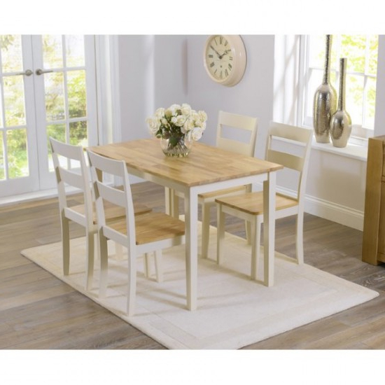 Chichester 150 Cm Oak & Cream Dining Table + 4 Chairs (View 1 of 20)