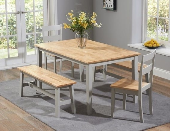 Chichester Dining Tables With Most Popular Chichester 150cm Oak & Grey Dining Table 4 Chairs 1 Large Bench (View 16 of 20)