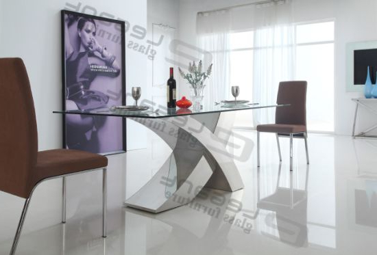 China 2014 Modern Glass Dining Table And Stainless Steel Dining Pertaining To Most Up To Date Glass And Stainless Steel Dining Tables (View 11 of 20)