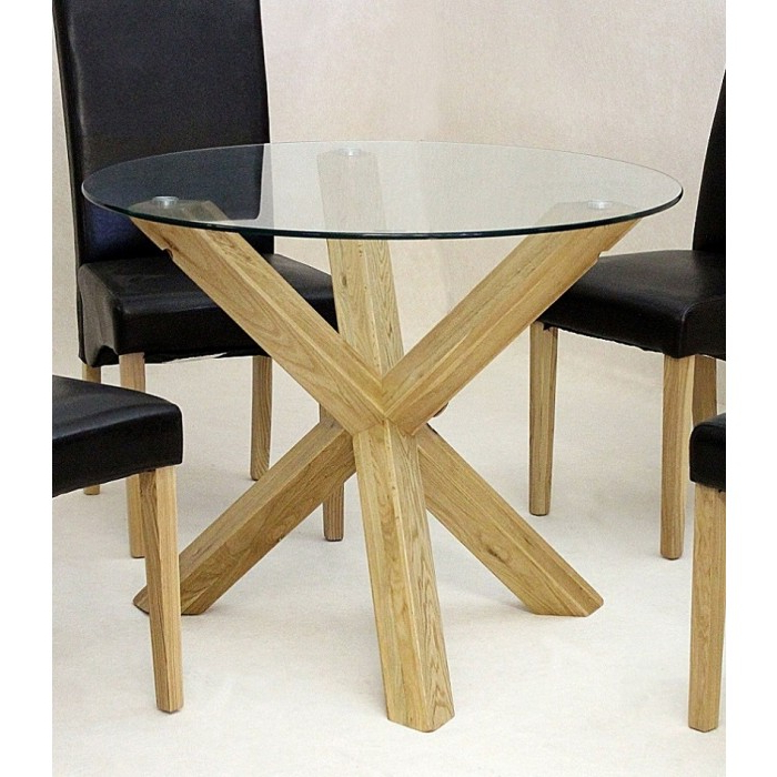 Chinon Round 95Cm Mini Glass Dining Table – Azura Home Style Inside Famous Oak And Glass Dining Tables (View 5 of 20)