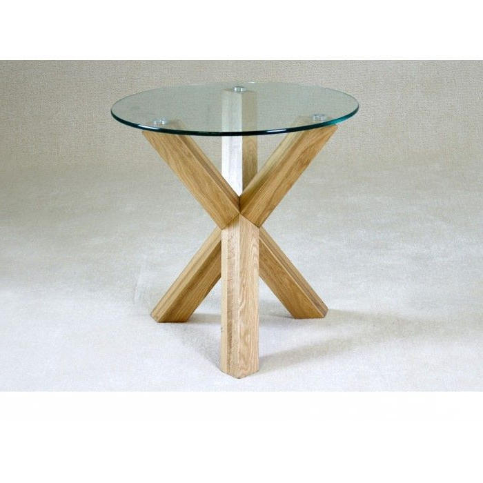 Chinon Small Round Glass Dining Table With Oak Wooden Legs – 4 Throughout Recent Glass Dining Tables With Wooden Legs (Gallery 20 of 20)