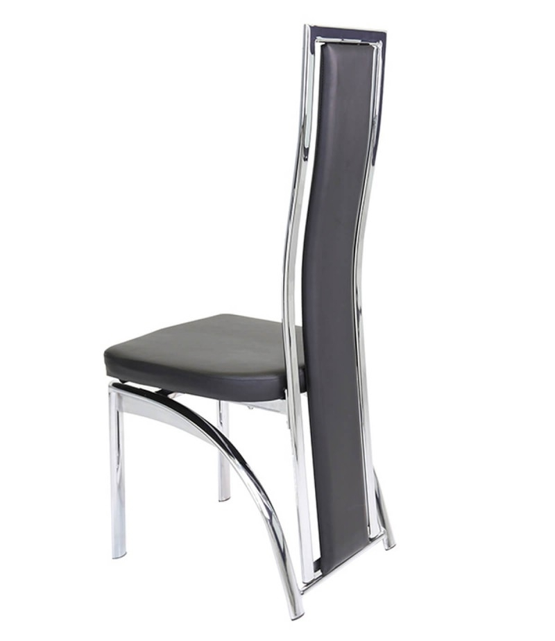 Chrome Dining Chairs Throughout Most Recent Mayfair Chrome & Black Faux Leather Dining Chair – Godotti (View 8 of 20)