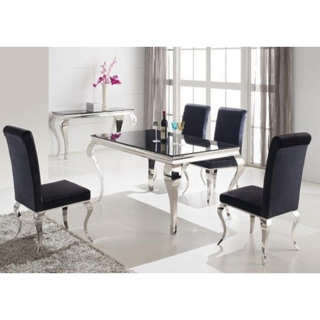 Chrome Dining Room Chairs Within Best And Newest Louis 160Cm Black And Chrome Dining Table Only (View 6 of 20)