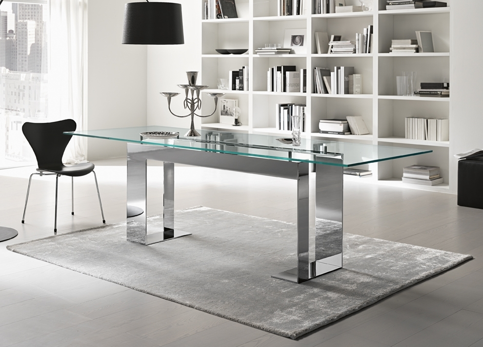 Chrome Dining Room Sets In Most Up To Date Tonelli Miles Glass & Chrome Dining Table (View 4 of 20)