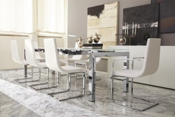 Chrome Dining Room Sets Intended For Trendy Airport, Modern Extending Dining Table With A White Glass Top And (View 13 of 20)