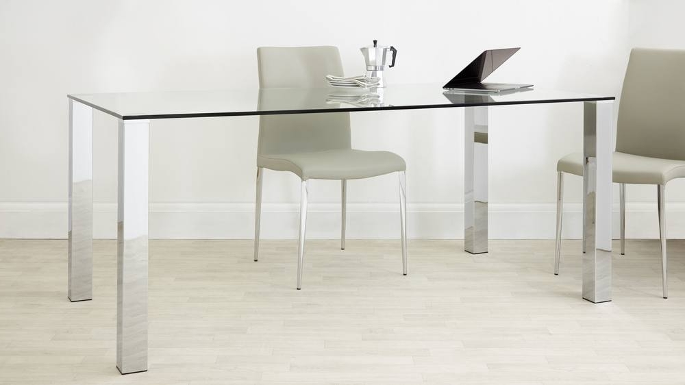 Chrome Dining Sets Intended For 2017 Rectangular Clear Glass Dining Table (View 3 of 20)