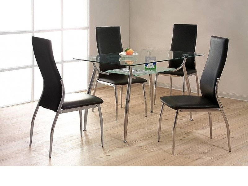 Chrome Dining Tables And Chairs Intended For 2017 Glass / Chrome Dining Table And 4 Chairs – Homegenies (View 3 of 20)