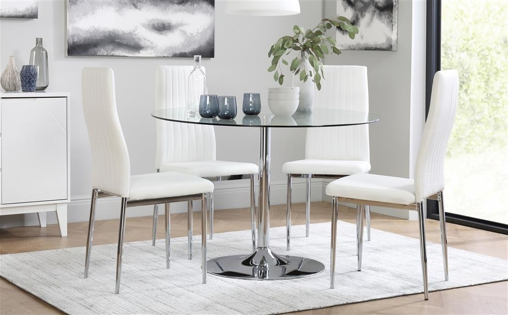 Chrome Dining Tables And Chairs With Regard To Most Recent Orbit & Leon Round Glass & Chrome Dining Table And 4 Chairs Set (View 4 of 20)