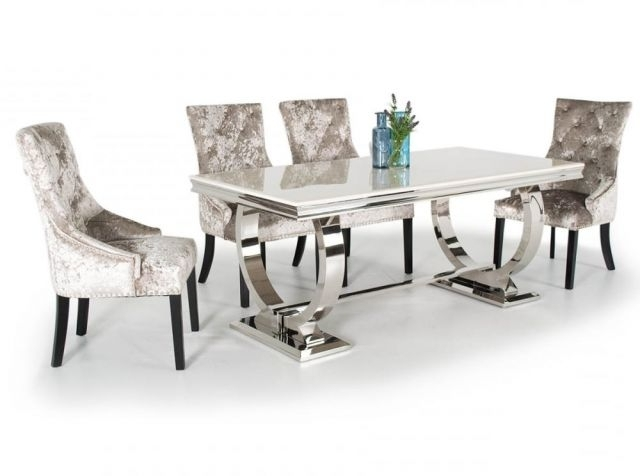 Chrome Dining Tables And Chairs Within Well Liked Vida Living Arianna Marble And Chrome Dining Table With Eden Suede (View 6 of 20)