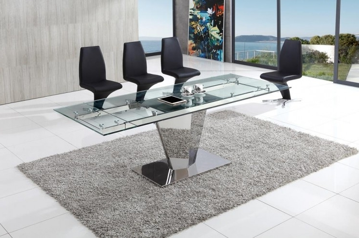 Chrome Glass Dining Tables Within Favorite Dome Chrome Glass Dining Table With Aldo Chairs (View 7 of 20)