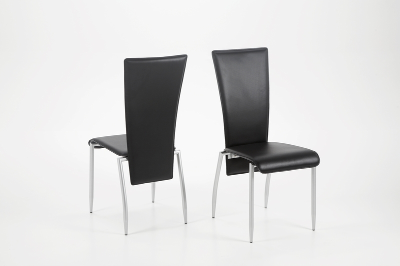 Chrome Leather Dining Chairs Intended For Most Current Set Of 2 Milan Dining Chair Black Leather – Quality Dining Chairs (View 3 of 20)