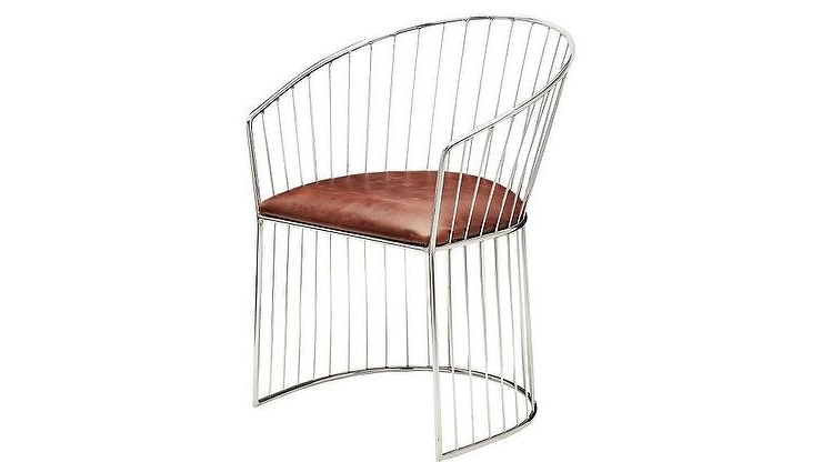 Chrome Leather Dining Chairs Throughout Most Popular Ray Brown Leather Curved Chrome Dining Chair (View 17 of 20)