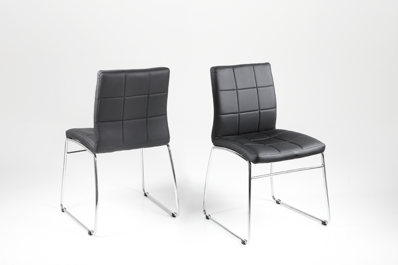 Chrome Leather Dining Chairs Throughout Most Recent Hot Dining Chair – Black Leather Look With Chrome Legs – Homestreet (View 2 of 20)