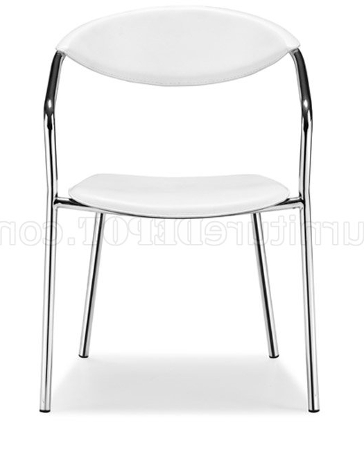 Chrome Leather Dining Chairs With Regard To Most Current Set Of 4 Black Or White Leather Dining Chairs With Chrome Frame (View 15 of 20)